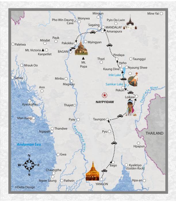 16 Tage Ueberlandfahrt von Yangon nach Bagan