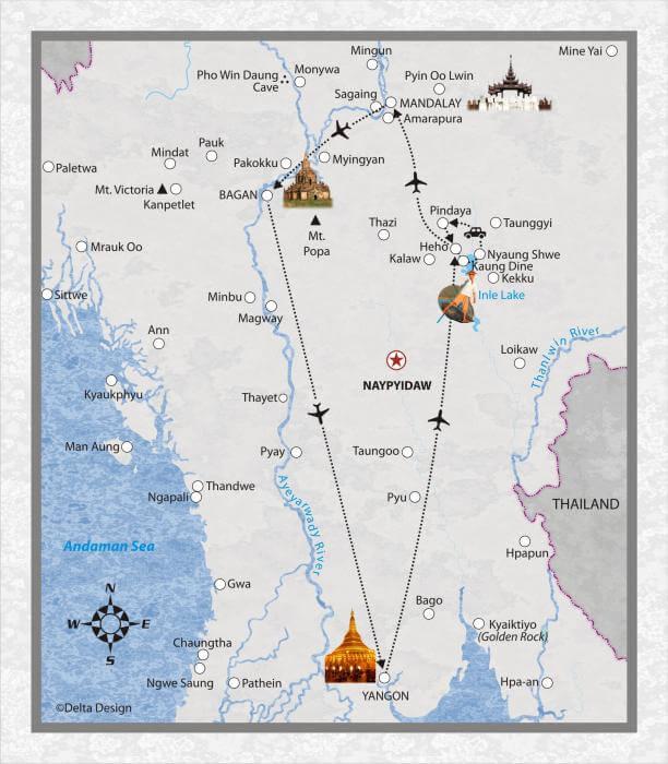9 Tage Myanmar, mit Ballonfahrt ueber Bagan